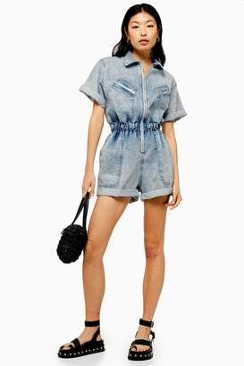 Topshop Acid Wash Zip Playsuit