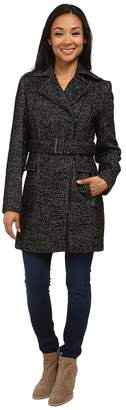Calvin Klein Wool Belted Coat w/ Asymmetrical Zipper Women's Coat
