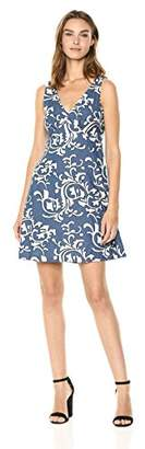 Nicole Miller New York Women's fit and Flare Dress with Embroidery