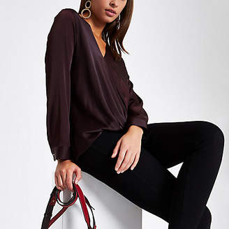 River Island Womens Burgundy wrap tuck front blouse