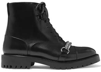 Burberry Barke Chain-trimmed Leather Ankle Boots - Black