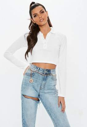 Missguided White Button Front Polo Crop Top