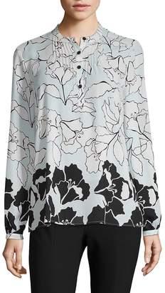 Karl Lagerfeld Paris Women's Floral Bib Pleated Blouse