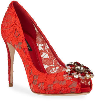 Dolce & Gabbana Jeweled Lace Peep-Toe Pumps
