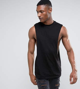 Asos Design DESIGN Tall longline sleeveless t-shirt with extreme dropped armhole in black