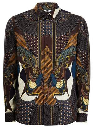 Topman Mens Burgundy Baroque Long Sleeve Shirt
