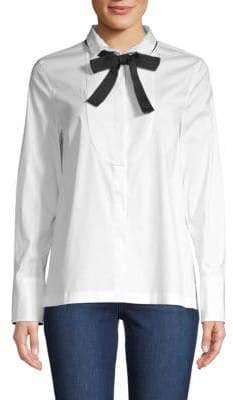 Brunello Cucinelli Long-Sleeve Bow Blouse
