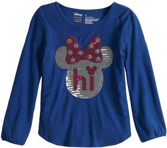 """Disneyjumping Beans Disney's Minnie Mouse Toddler Girl """"Hi"""" Sequin Long Sleeve Tee by Jumping Beans"""