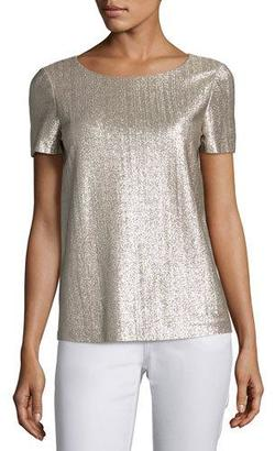 Lafayette 148 New York Short-Sleeve Shimmering Jersey Top, Iced Mocha $398 thestylecure.com