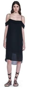Alexander Wang Silk Georgette Pleated Off The Shoulder Dress