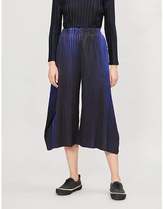 Pleats Please Issey Miyake Alt Neon wide-leg cropped pleated trousers