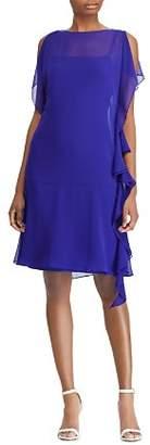 Ralph Lauren Ruffled Georgette Shift Dress