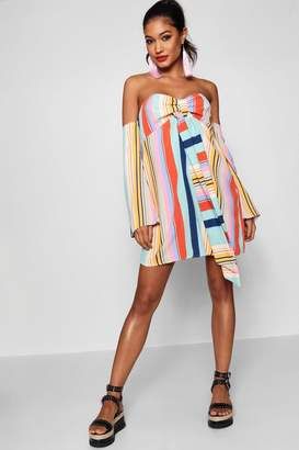 boohoo Tie Neck Multi Stripe Shift Dress