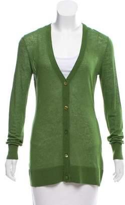 Michael Kors Linen-Blend V-Neck Cardigan