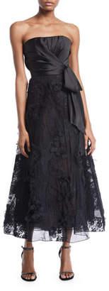 Marchesa Strapless Tea-Length Bow & Lace Dress