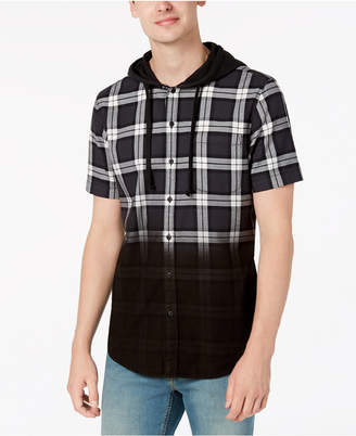 American Rag Men's Camden Dip-Dye Plaid Hooded Shirt