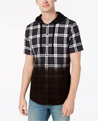 American Rag Men's Camden Dip-Dye Plaid Hooded Shirt, Created for Macy's