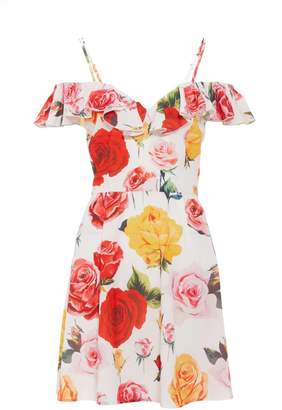 Quiz Cream Floral Print Frill Skater Dress