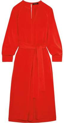 Isabel Marant Belted Stretch Silk And Wool-Blend Dress