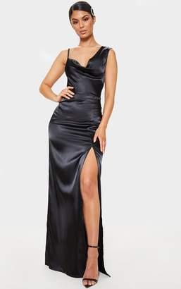 PrettyLittleThing Black Satin Cowl Neck Maxi Dress