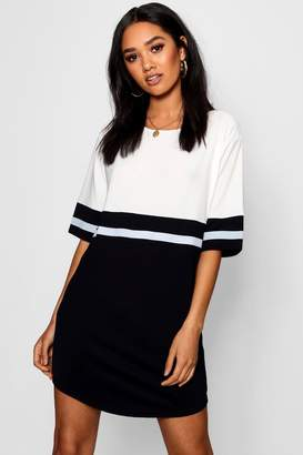 boohoo Petite Curve Hem Colour Block Shift Dress