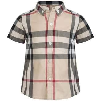 Burberry BurberryBaby Boys Beige Short Sleeve Check Shirt