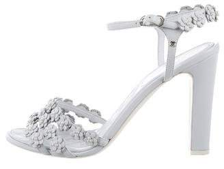 Chanel Leather Camellia Sandals