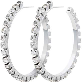 Area metallic silver small crystal hoop earrings