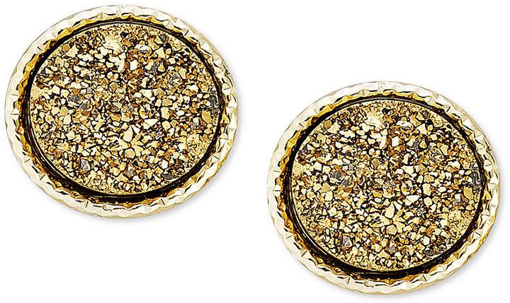Macy's 14k Gold Earrings, Bronze Druzy Stud Earrings