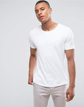 Esprit Longline T-Shirt With Roll Sleeve In White