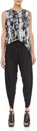 Haute Hippie Jersey Harem Pants with Drawstring