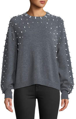 Joie Nilania Pearly-Beads Crewneck Wool-Cashmere Sweater