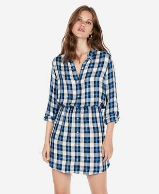 Express Plaid Fit And Flare Shirt Dress