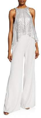 98d25aa8bb92 SHO Sleeveless Wide-Leg Jumpsuit with Sequin Top   Crepe Bottom