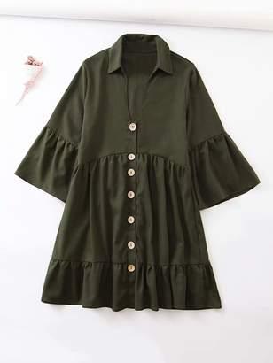Shein Solid Flounce Sleeve Ruffle Hem Shirt Dress