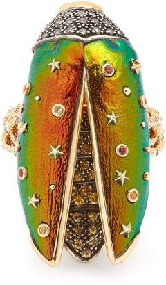 Fly London BIBI VAN DER VELDEN Scarab yellow-gold ring