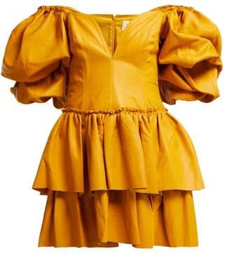 Aje - Castellain Sweetheart Neck Leather Mini Dress - Womens - Dark Yellow