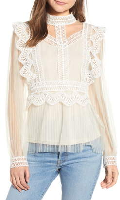 Endless Rose Lace Detail Mesh Blouse