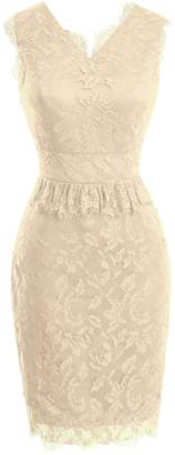 Dasior Short Sheath Floral Lace Formal Evening Party Dress US