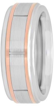 Unbranded Mens Cobalt Rose Gold Tone Striped Wedding Band - Mens Ring