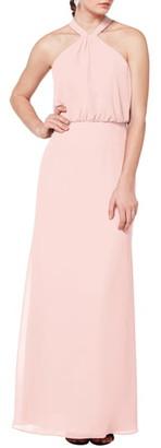 #Levkoff Halter Neck Blouson Bodice Evening Dress