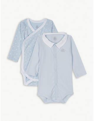 Petit Bateau Boat print cotton bodysuits set of two 0-12 months