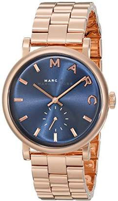 Marc Jacobs Women's Quartz Watch with Blue Dial Analogue Display and Rose Gold Stainless Steel Bangle MBM3330