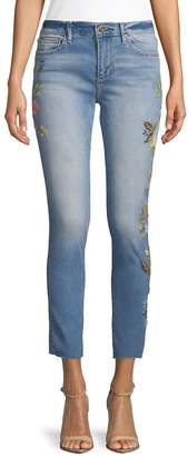 Driftwood Women's Floral Embroidered Raw-Hem Jeans