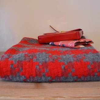 Ville et Campagne Pure Wool Red And Grey Geometric Luxury Sofa Throw