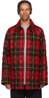Balenciaga Red and Black Polar Check Padded Shirt