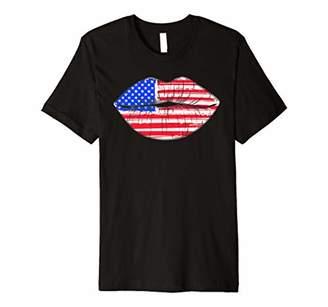 Summer Women 4th of July Lips American Flag Kiss Merica Premium T-Shirt