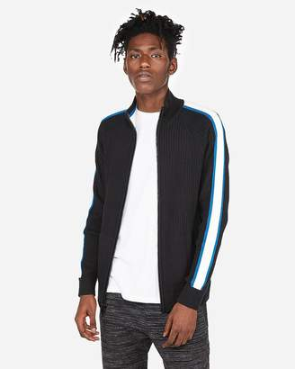 Express Stripe Sleeve Zip Front Cardigan