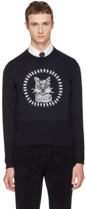 Thom Browne Navy Thom Cat Icon Crewneck Pullover $1,810 thestylecure.com