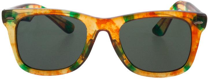 American Apparel Vintage Amber/Green Marbled Wayfarer Sunglasses
